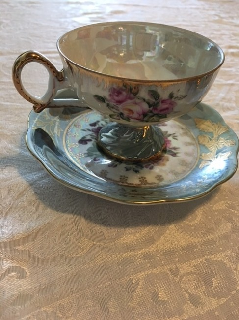 Item - Mint Green Rose and Etc Antique Tea Cup Saucer Fine China
