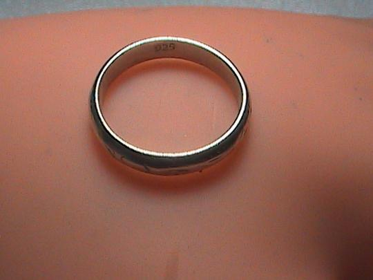 Vintage Sterling Silver Etched Band Ring Image 7