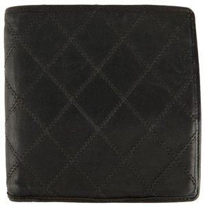Chanel Chanel Men's Black Leather Quilted Wallet