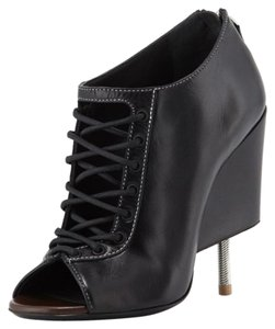 Givenchy Wedge Edgy Stiletto Leather Open Toe Black Boots