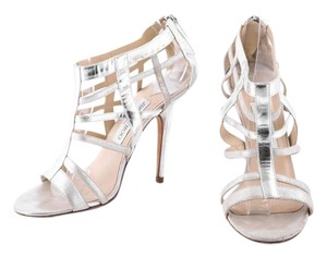 Jimmy Choo Gold Leather Caged Heels silver Sandals
