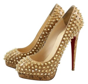 Christian Louboutin Altipump Spike Studded Cork And Gold Pumps