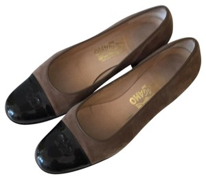 Salvatore Ferragamo Brown & Black Pumps