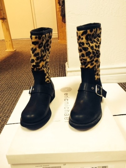 Eric Michael Shearling Winter Apres Ski Snowboot Leopard Boots