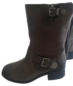Vince Camuto Moto Grey Leather Gunmetal Lead Boots