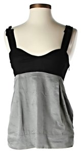 See by Chloé Sweetheart Color-blocking Top Black & Grey