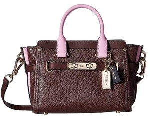 Coach Crossbody Swagger Color Block Swagger Carryall Satchel in Li/Oxblood