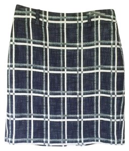 Ann Taylor Linen Pencil Midi Skirt black and white