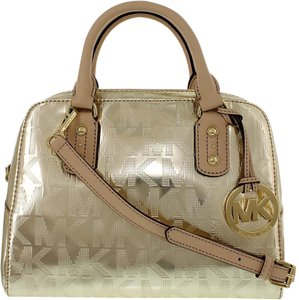 Michael Kors Leather Crossbody Handbag Satchel in Mirror Metallic Pale Gold