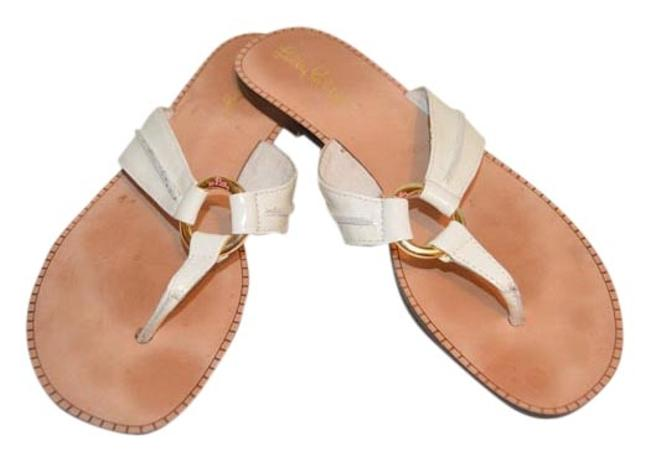 Item - White Leather Mckim Flip Flop 7-euc Sandals Size US 7 Regular (M, B)