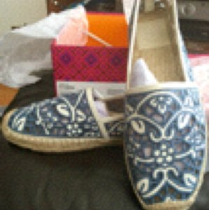Tory Burch Espadrilles Lace New In Box Blue/Ivory Sandals