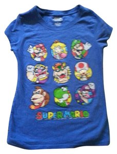 Super Mario T Shirt Blue and Multi.