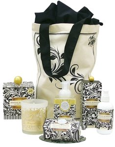 Michel Design Works Luxurious Black Florentine Bath & Body Gift Set - Scent: Honey Almond (Brand New) - Scent: Honey Almond