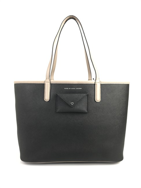 Item - Metropolitote 48 Black and Taupe Leather Tote