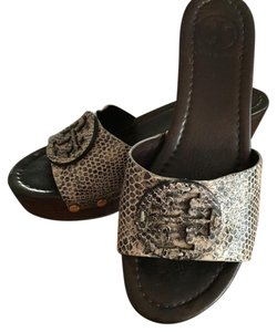 Tory Burch Black/Ivory Snakeskin Mules