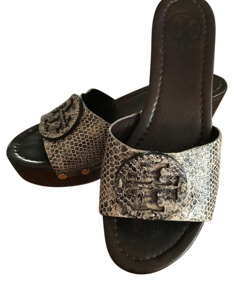 185958bdcc39 Tory Burch Black Ivory Snakeskin Sandals Mules Slides. Size  US 7.5 ...