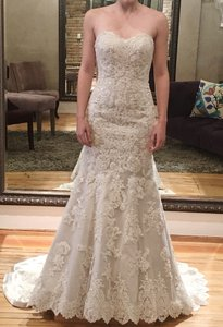 Martina Liana Pewter with Ivory Lace Satin Overlay 500 Traditional Wedding Dress Size 0 (XS)