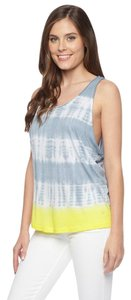 Splendid Tie Dye Yellow Sleeveless Top Grey Mist Lemoncello