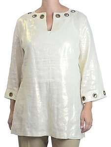 Live A Little Lal Shimmer Wmetal Eyelet Trim 34 Sleeves Tunic