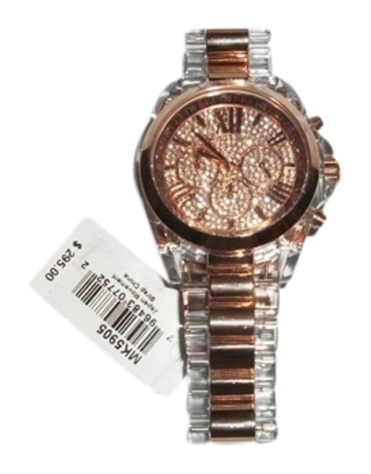 Michael Kors Women S Chronograph Bradshaw Clear And Rose Gold Tone Stainless Steel Bracelet