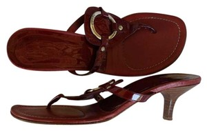 Coach Patent Thongs Heels Wine Sandals
