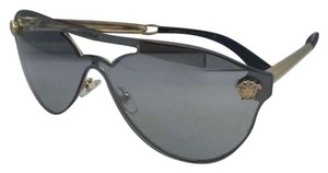 Versace New VERSACE Sunglasses VE 2161 1002/6G Gold & Black Frames w/ Grey+Silver Mirror Lenses