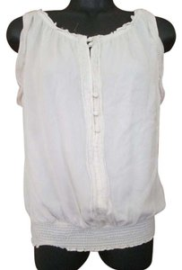 White House | Black Market Whbm Smocked Silk Top Ivory