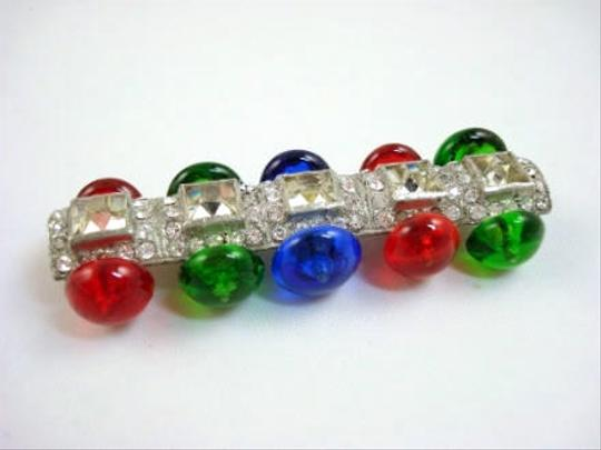 Other Art Deco Multi-Color Glass & Rhinestone Brooch