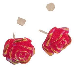 Red Rose Bud Earrings Handmade
