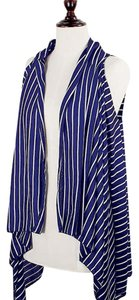 Other Navy Blue Nautical Stripe Cardigan Vest Cover Up And Hope Anchor Necklace