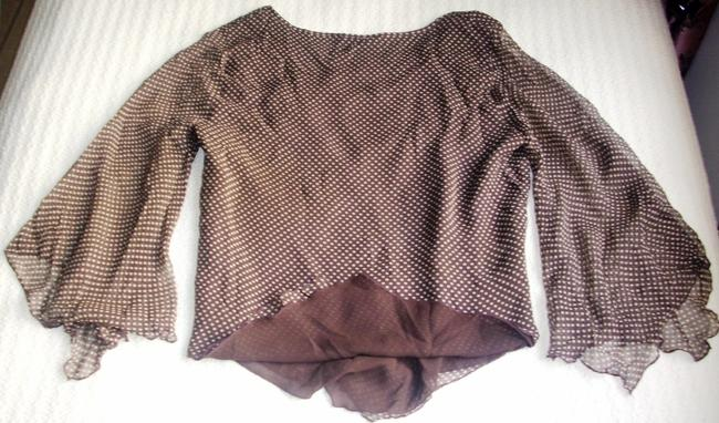 Edward...petite Top Brown with beige dots