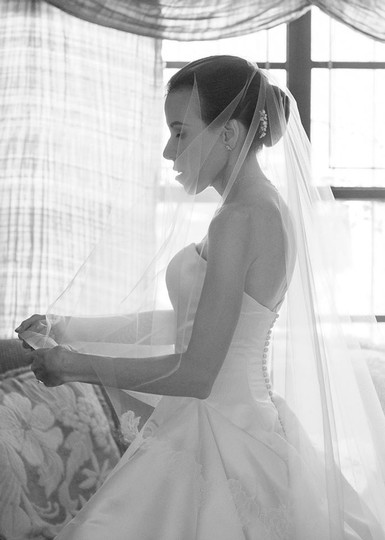 Chantilly Lace Cathedral Length Bridal Veil With Blusher