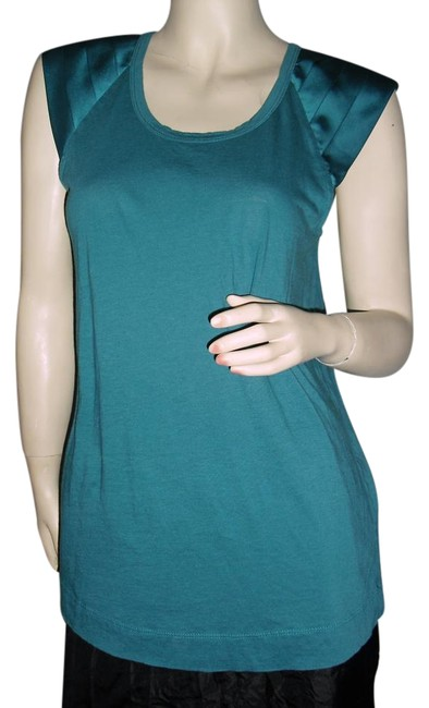Preload https://img-static.tradesy.com/item/15933295/vera-wang-teal-unique-cotton-shirt-w-charmeuse-satin-pleated-sleeves-blouse-size-8-m-0-1-650-650.jpg
