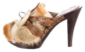 Dior Leather Wooden Wooden Heels Fur Mules