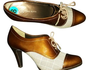 Anna Klein Vintage Casual Mary Jane brown/ plaid Platforms