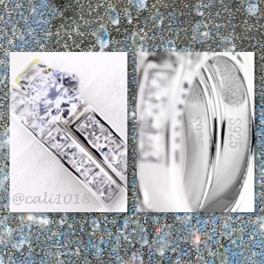 Other New 3ct Cz Zircon 2pc .925 Silver Wesding Ring Set 7.25
