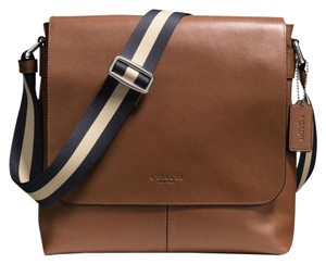 Coach Cross Body File Laptop Charles Messenger Dark Saddle Tan Messenger Bag