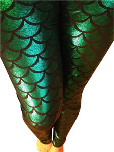 Mermaid Fish Scale Yoga Leggings Emerald Green Leggings
