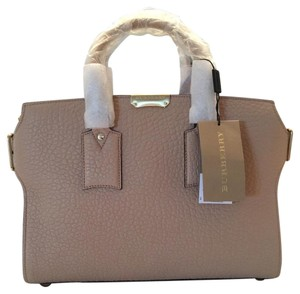 Burberry Nude Pebbled Leather Satchel in Pale Apricot