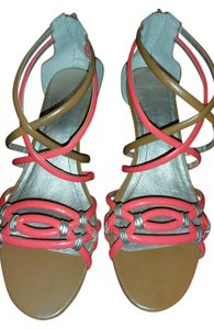BCBGeneration Summer Crisscross Strap Open Toe tan and apricot Wedges