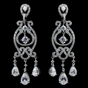 Vintage Style 925 Sterling Silver Clear Cz Crystal Chandelier Earrings