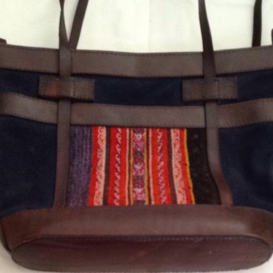 Unknown Tote in navy/brown leather and suede