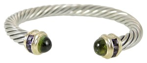David Yurman David Yurman Sterling Silver 14K Yellow Gold 7mm Peridot Renaissance Bracelet with Channel Set Amethyst