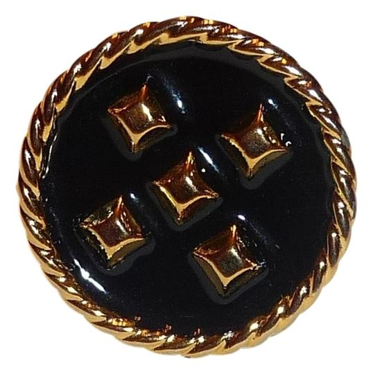 Giles & Brother GILES & BROTHER Philip Crangi Jewelry Black Enamel Gold-Tone Nailhead Ring