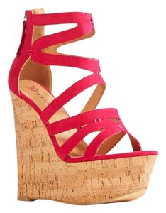 JustFab Sandal Wedge Comfortable Pink Sandals