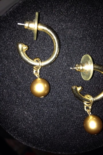 Carolee Carolee Pierced Gold Color Faux Pearl Earrings