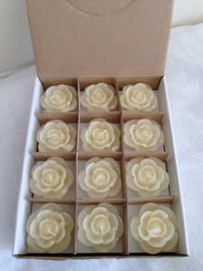 Ivory Rose Shaped Floating (72) Count Votive/Candle