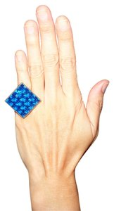 Giles & Brother GILES & BROTHER Philip Crangi Jewelry Matte Hematite Square Ring with Square Blue Crystals