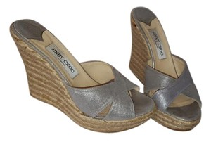Jimmy Choo Silver Metallic Leather Espadrille Wedge Sandals