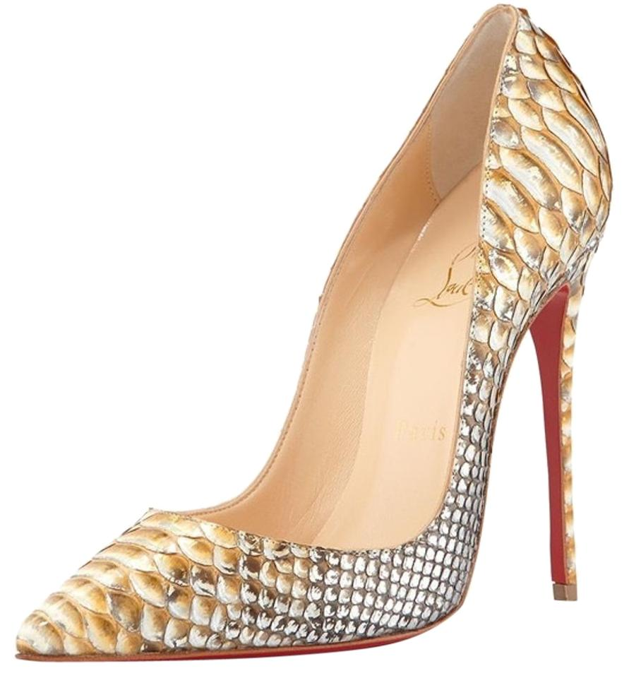 19c73f528d6d Christian Louboutin Gold So Kate 120 Mm Metallic Python Tropicana Pumps